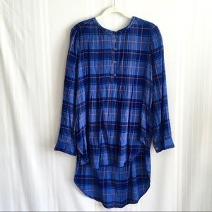 Anthropologie Holding Horses Plaid Tunic Top Blue